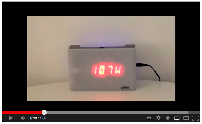 YouTube video of Wattson Energy Meter in Action