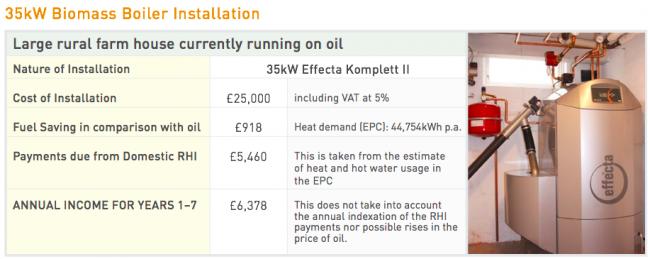Domestic Biomass Boiler financial data