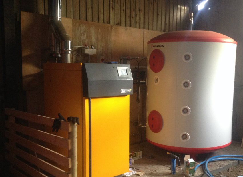 Biomass boiler and buffer tank installed