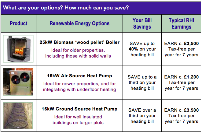 Savings and earnings from renewable domestic heating