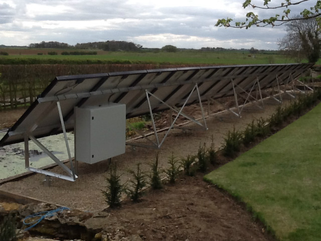 Back of solar panels installed at The Garden House