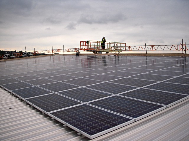 Solar photovoltaic panels on the roof of Swindon New College