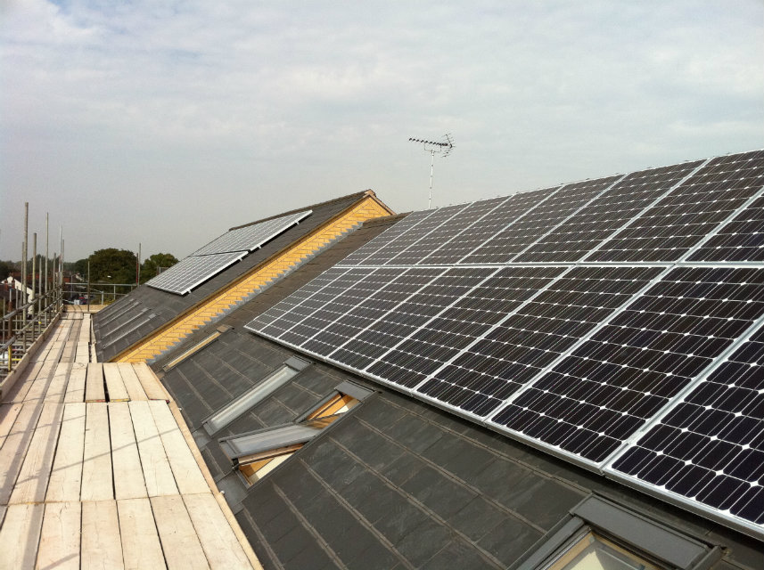 Close up of Brayford Court's Solar PV panels