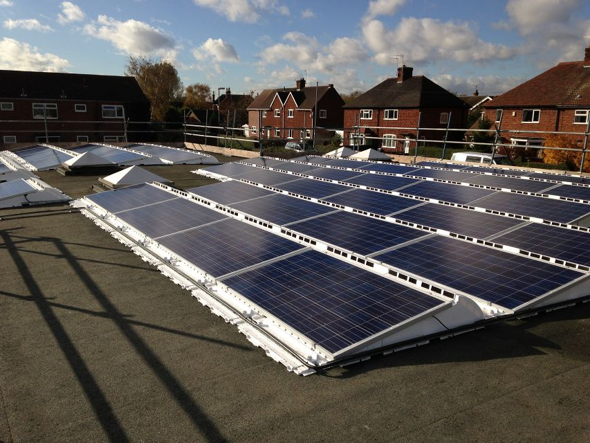 Gunthorpe Primary School Solar PV array from the side