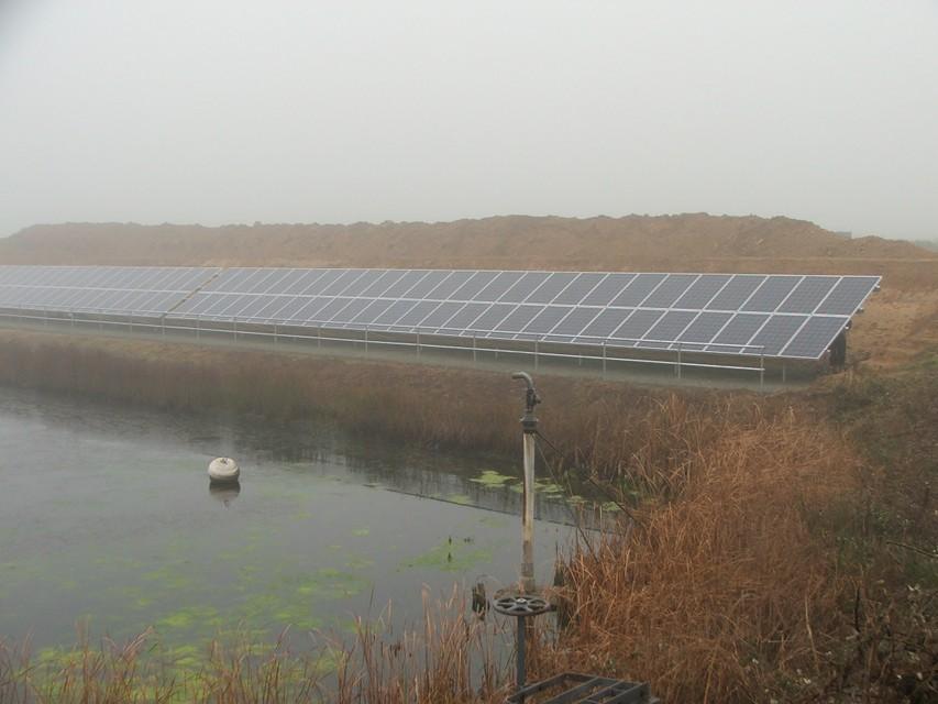 Oldbury Farm Solar PV array in the mist