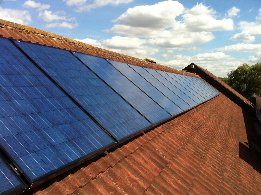 Solar panels on the North Hykeham town council roof
