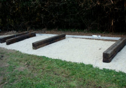 Railway sleepers in place